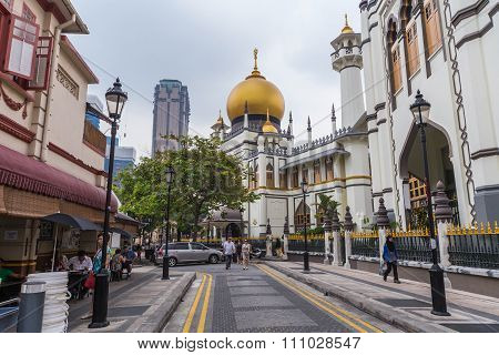 Singapore, Singapore - Circa September 2015: Sultan Mosque In  Singapore