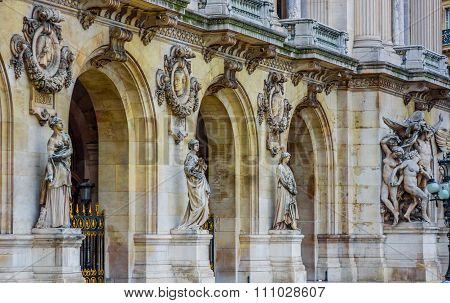 Close up shot of architecture detail, Paris Opera House, France