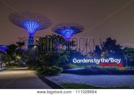 Singapore, Singapore - Circa September 2015: Supertree Grove In Gardens By The Bay,   Singapore
