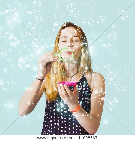 Creative Woman Blowing Birthday Party Bubbles