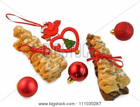 Croissants With Red Ribbon And Christmas Decorations On White.