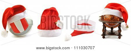 Collection Of Santa's Hats  Lined Up On White.
