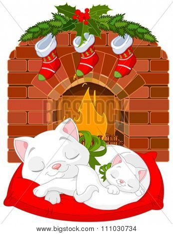 Cute little kittens sleeping near Fireplace