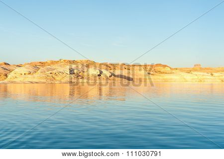 Stunning Lake Powell Red Cliffs Reflected At Sunset Arizona Usa