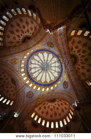 Ornate Ceiling Of The Blue Mosque