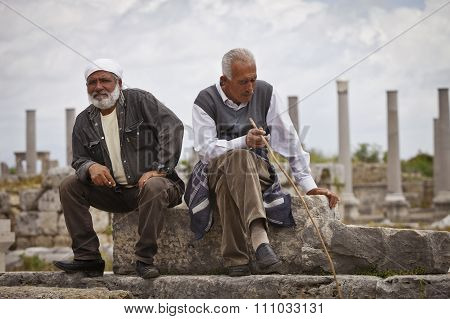 Two Turkish Men In The Ruins Of Perga