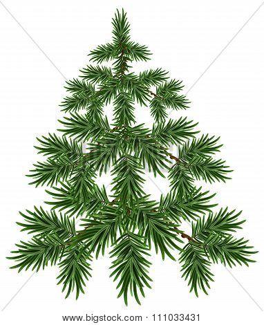 Green Christmas Tree. Fluffy fir. Green pine tree