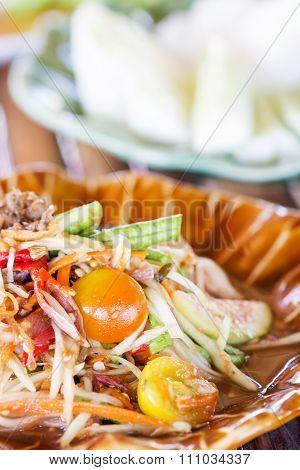 Green Papaya Salad Thai Cuisine Spicy Delicious