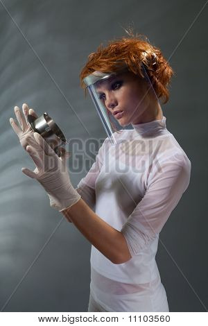 Scientist Woman Examine Metal Part Concept