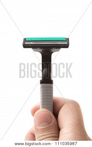 Mens Hand Holding A Shaver On White Background