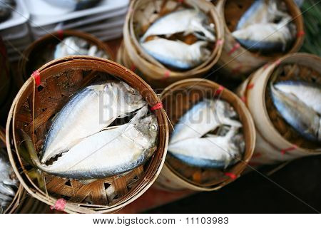 Salted herrings in a round.