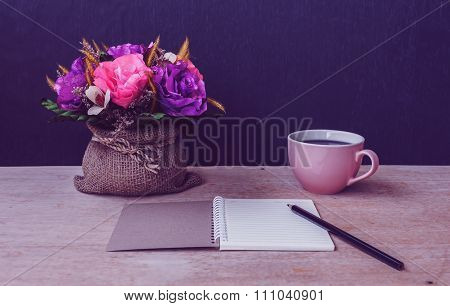 Table Of Writer, Notepad With Pencil And Flower, Vintage And Dark Tone