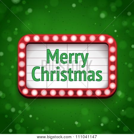 Merry Christmas signboard with lights