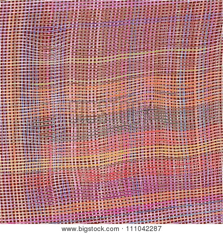 Grunge Striped And Checkered Weave Colorful Cloth Background