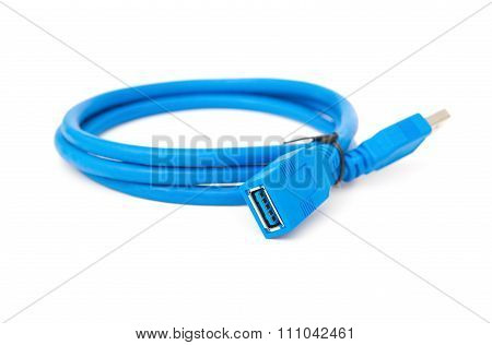Side View Blue Usb Cable On A White Background
