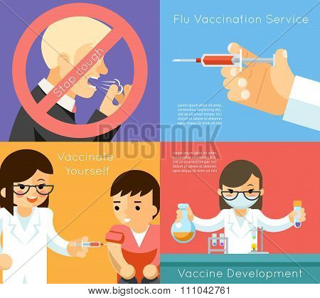 Medical flu vaccination vector concept background