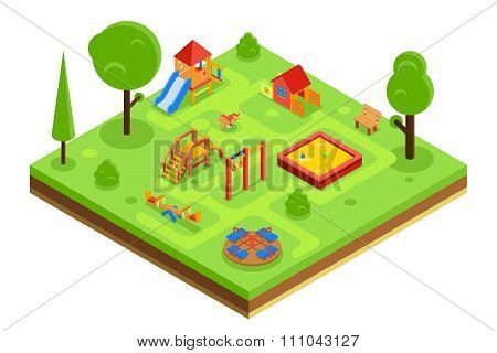 Childrens playground in isometric flat style. Vector illustration