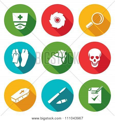 Pathologist and morgue Icons Set. Vector Illustration.