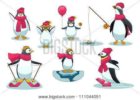 Penguins in different situations. Vector illustration cartoon style