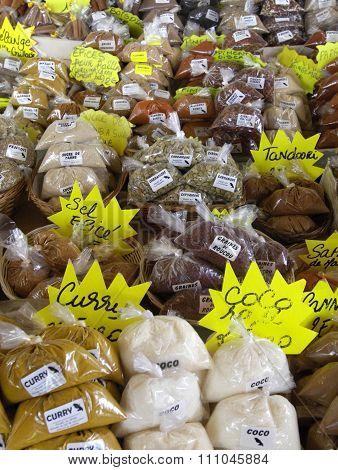 France, Spices In The Sainte Anne Market In Martinique