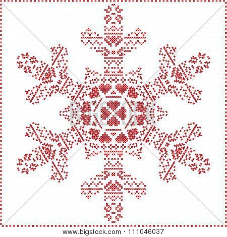 Scandinavian Nordic winter cross stitching, knitting Christmas pattern in in snowflake shape