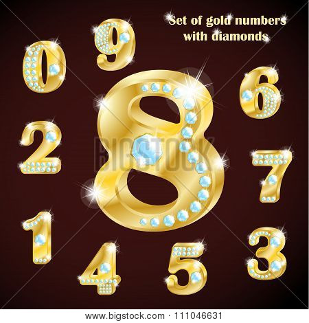 Luxury set of numbers of gold and diamonds. Vector illustration.