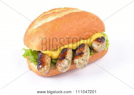 Fried sausages in a roll