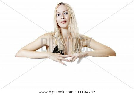 Sexual Woman Holding Empty White Board