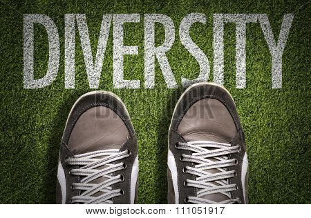 Top View of Sneakers on the grass with the text: Diversity