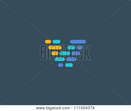 Abstract letter V logo.  Dynamic code vector unusual font.