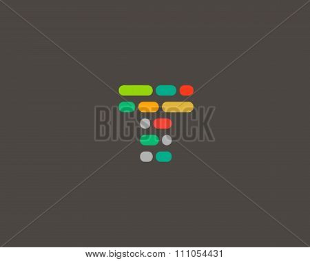 Abstract letter T logo.  Dynamic code vector unusual font.