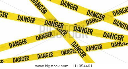 Yellow Danger Barrier Tape Background Isolated On White