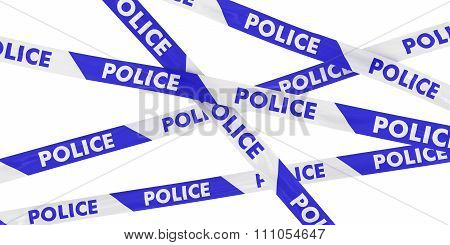 Blue And White Striped Police Barrier Tape Background