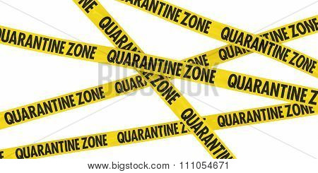 Yellow Quarantine Zone Barrier Tape Background Isolated On White