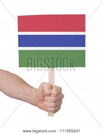 Hand Holding Small Card - Flag Of Gambia