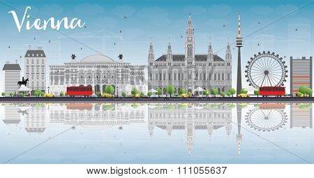 Vienna Skyline with Gray Buildings, Blue Sky and Reflections. Vector Illustration. Business Travel and Tourism Concept with Historic Buildings. Image for Presentation, Banner, Placard and Web Site.