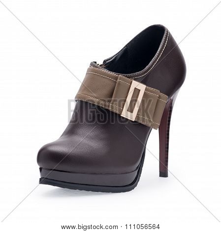 One Of Women's Shoes Brown Stilettos With Metal Buckle