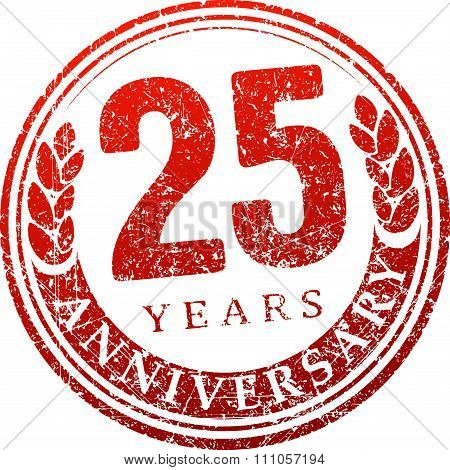 Vintage Anniversary 25 Years Round Grunge Round Stamp. Retro Styled Vector Illustration In Red Tones