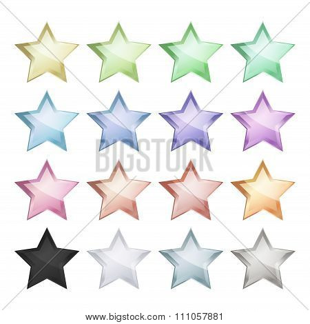 Vector Multicolored Glossy Stars That Can Be Used For The Ranking