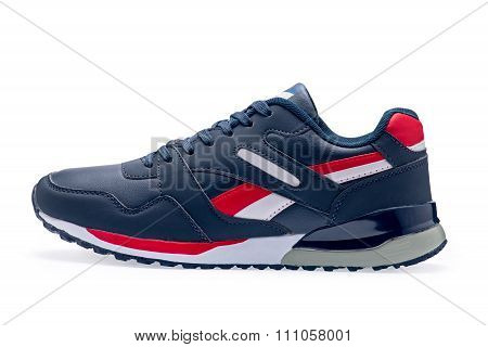 Single Of Blue Sports Shoes With Shoelace