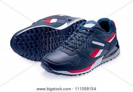 A Pair Of Blue Sports Shoes With Shoelace