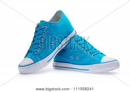 A Pair Of Blue Gumshoes With Shoelace