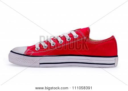 Single Of Red Gumshoes With Shoelace