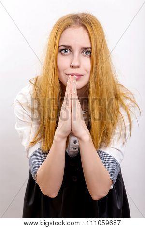 Woman In Praying Pose