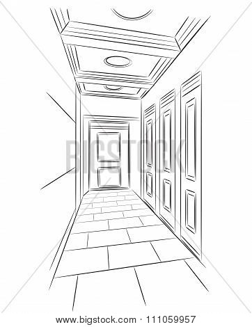Sketch of hall.