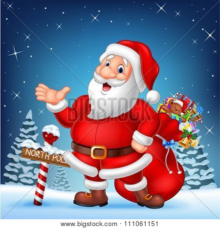 Cartoon funny Santa presenting with a north pole wooden sign