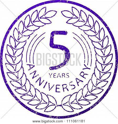 Vintage Anniversary 5 Years Round Grunge Round Stamp. Retro Styled Vector Illustration In Blue Tones