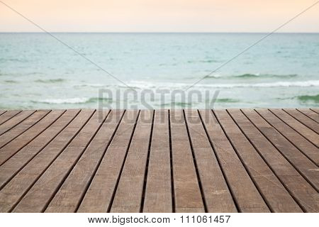 Wooden Pier Perspective With Blue Sea
