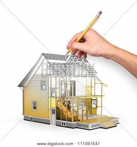 Concept Of Construction And Architect Design. 3D Render Of House In Building Process With Tree. Hand