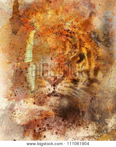 gentle portrait tiger with eagle and butterfly wings.. Color Abstract background and retro, old pape